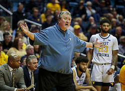 Nov 24, 2018; Morgantown, WV, USA; West Virginia Mountaineers head coach Bob Huggins argues a call during the second half against the Valparaiso Crusaders at WVU Coliseum. Mandatory Credit: Ben Queen-USA TODAY Sports