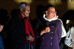 © Licensed to London News Pictures. 23/10/2017. London, UK. Former Secretary-General of the United Nations KOFI ANNAN and Politician and former widow of former South African president NELSON MANDELA, GRACA MACHEL makes a speech in Trafalgar Square at the Walk Together event in memory of Nelson Mandela. Photo credit: Ray Tang/LNP