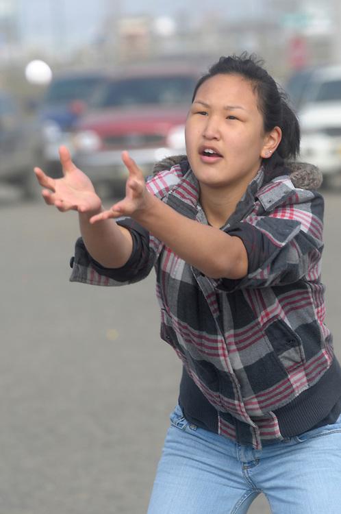 Alaska, Native teenage girl in Barrow, MR,