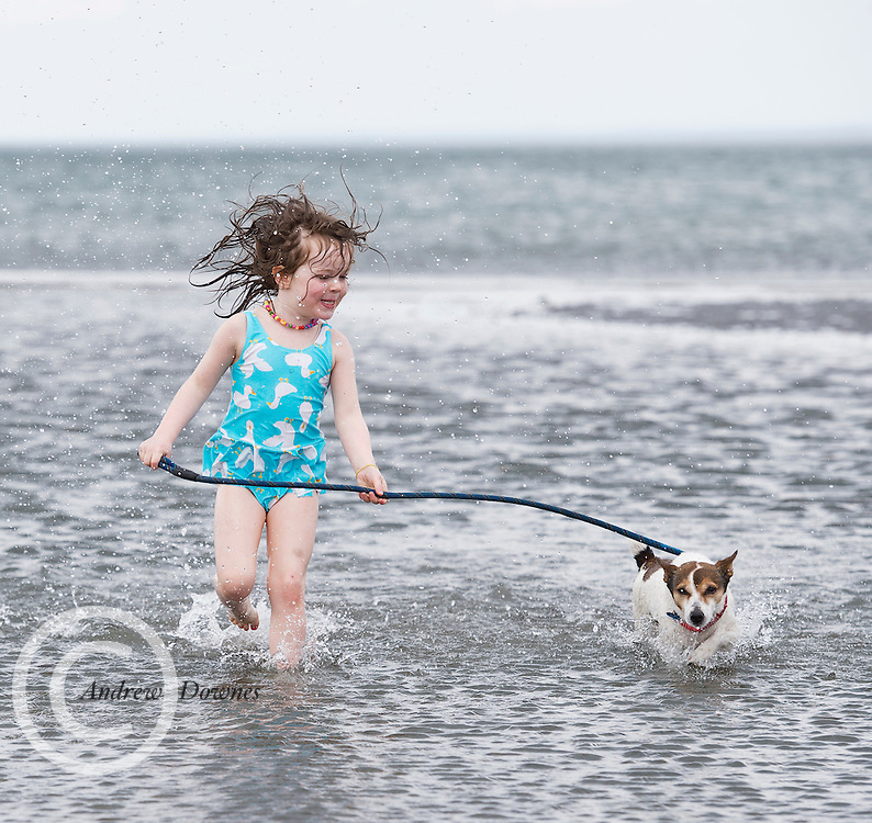 5 year old, Matilda Moore Lewy from Athlone and her dog  Jack on Traught  beach near Kinvara Co. Galway. Photo:Andrew Downes, xposure.