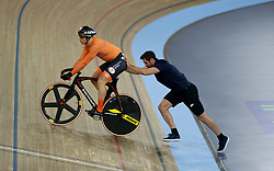 Harrie Lavreysen of Netherlands before the Men's Sprint Semi Finals Race 1 during day three of the Tissot UCI Track Cycling World Cup at Lee Valley VeloPark, London.