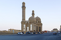 Azerbaijan, Baku. The Bibi-Heybat Mosque  is a historical mosque in Baku. The existing structure, built in the 1990s, is a recreation of the mosque  built in the 13th century which was completely destroyed by the Bolsheviks in 1936.