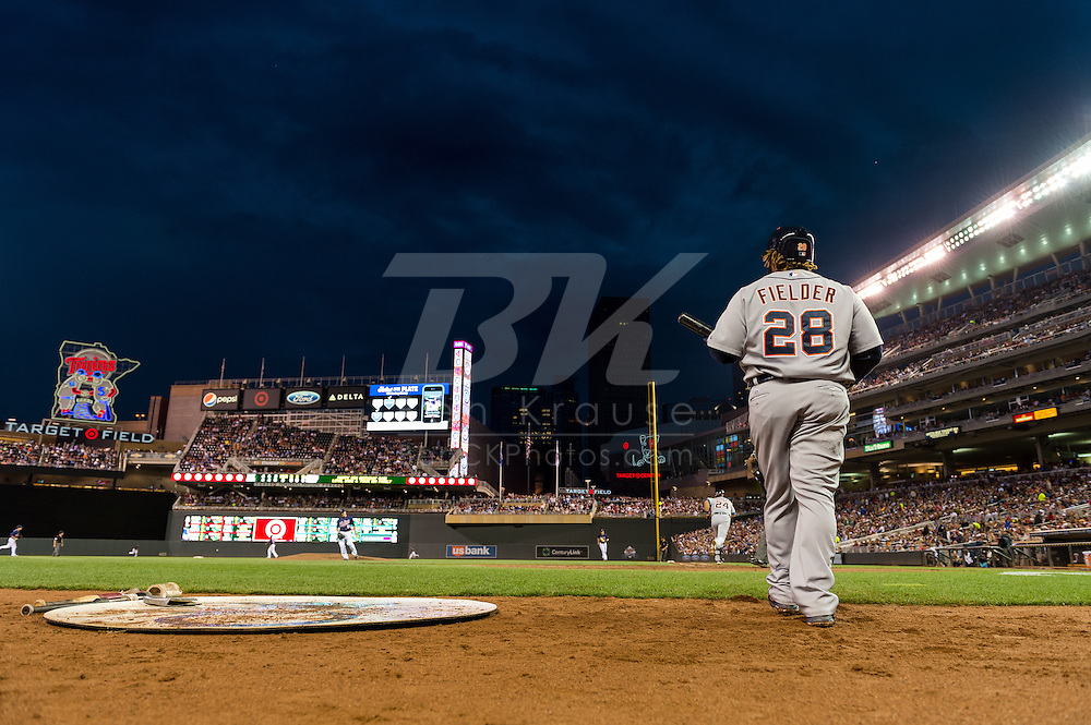 Prince Fielder (28) of the Detroit Tigers walks to the batter's box during a game against the Minnesota Twins on August 14, 2012 at Target Field in Minneapolis, Minnesota.  The Tigers defeated the Twins 8 to 4.  Photo: Ben Krause