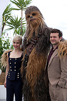 Alden Ehrenreich Chewbacca and Emilia Clarke at the Solo: A Star Wars Story film photo call at the 71st Cannes Film Festival, Tuesday 15th May 2018, Cannes, France. Photo credit: Doreen Kennedy