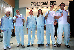 Sabina Veit, Matic Osovnikar, Nina Kolaric, Marija Sestak, Rozle Prezelj and Primoz Kozmus at fashion show of new jerseys of Slovenian Athletic National Team, on October 28, 2008, in Mercator center Siska, Ljubljana, Slovenia. (Photo by Vid Ponikvar / Sportal Images).