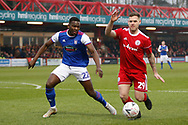 Accrington Stanley forward Billy Kee (29) shields the ball from Ipswich Town defender Aristote Nsiala (22)  during the The FA Cup 3rd round match between Accrington Stanley and Ipswich Town at the Fraser Eagle Stadium, Accrington, England on 5 January 2019.