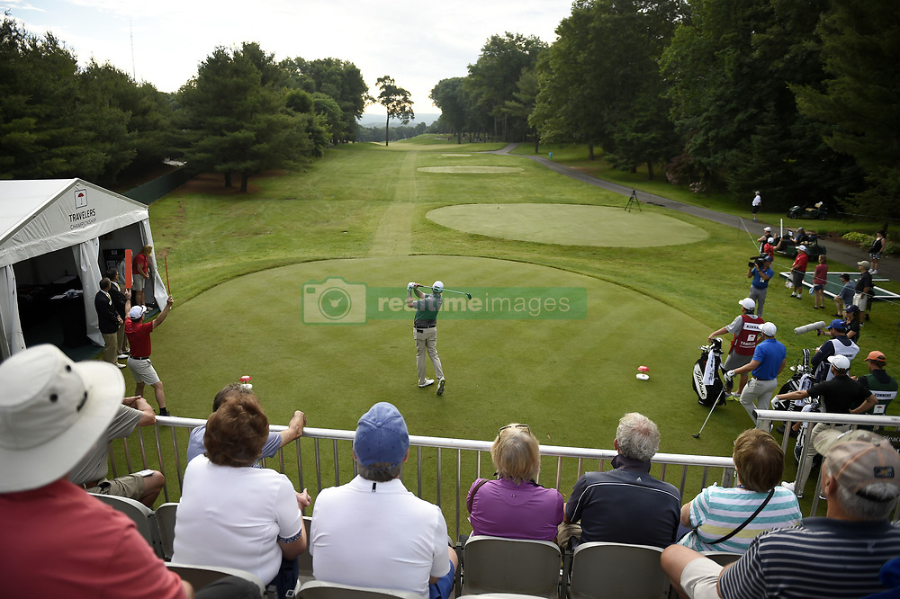 June 21, 2018 - Cromwell, CT, USA - Jason Kokrak tees off on the 10th hole, his first, during the first round of the Travelers Championship on Thursday, June 21, 2018 at TPC River Highlands in Cromwell, Conn. Kokrak started out hot, with three birdies and an eagle on the 13th hole, but stalled down the stretch and finished at -4. (Credit Image: © John Woike/TNS via ZUMA Wire)