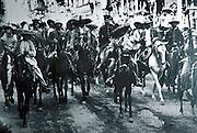 MEXICO, MURALS Civil War, 1910 with Pancho Villa and Emiliano Zapata entering Mexico City