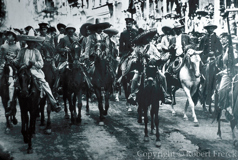 MEXICO, MURALS Civil War, 1910 with Pancho Villa and Emiliano Zapata entering Mexico City