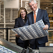 David Duffy CEO Clydesdale Bank and Ruth Euling, Global Account Sales Director at DeLaRue at DeLaRue, Gateshead to see the new £5 polymer notes with his signature on it.  Picture Robert Perry 10th Feb 2016<br /> <br /> Please credit photo to Robert Perry<br /> <br /> Image is free to use in connection with the promotion of the above company or organisation. 'Permissions for ALL other uses need to be sought and payment make be required.<br /> <br /> <br /> Note to Editors:  This image is free to be used editorially in the promotion of the above company or organisation.  Without prejudice ALL other licences without prior consent will be deemed a breach of copyright under the 1988. Copyright Design and Patents Act  and will be subject to payment or legal action, where appropriate.<br /> www.robertperry.co.uk<br /> NB -This image is not to be distributed without the prior consent of the copyright holder.<br /> in using this image you agree to abide by terms and conditions as stated in this caption.<br /> All monies payable to Robert Perry<br /> <br /> (PLEASE DO NOT REMOVE THIS CAPTION)<br /> This image is intended for Editorial use (e.g. news). Any commercial or promotional use requires additional clearance. <br /> Copyright 2016 All rights protected.<br /> first use only<br /> contact details<br /> Robert Perry     <br /> 07702 631 477<br /> robertperryphotos@gmail.com<br />        <br /> Robert Perry reserves the right to pursue unauthorised use of this image . If you violate my intellectual property you may be liable for  damages, loss of income, and profits you derive from the use of this image.