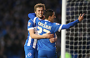 Brighton striker (on loan from Manchester United), James Wilson (21) celebrates his goal with Brighton striker, Anthony Knockaert (27) during the Sky Bet Championship match between Brighton and Hove Albion and Huddersfield Town at the American Express Community Stadium, Brighton and Hove, England on 23 January 2016.