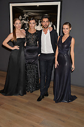 Left to right, JULIA LIND-ANDERSSON, KATERINA CHRISTO, designer STEVEN MATTHEW and SHAUNA LOUISE-CAWLEY at a private view of photographs in aid of the Sir Hubert von Herkomer Arts Foundation held at Alon Fine Art, 5-7 Dover Street, London on 8th September 2015.