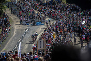 Team USA riding up towards the feeding station during the Mens Elite Cross Country event at the 2018 UCI MTB World Championships - Lenzerheide, Switzerland