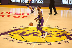 February 27, 2019 - Los Angeles, CA, U.S. - LOS ANGELES, CA - FEBRUARY 27: Los Angeles Lakers Forward LeBron James (23) at halfcourt during the first half of the New Orleans Pelicans versus Los Angeles Lakers game on February 27, 2019, at Staples Center in Los Angeles, CA. (Photo by Icon Sportswire) (Credit Image: © Icon Sportswire/Icon SMI via ZUMA Press)