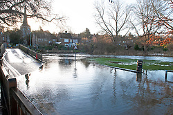©Licensed to London News Pictures 23/12/2019. <br /> Eynsford ,UK. The River Darent water levels have continued to rise this morning causing flooding to parts of Eynsford Village in Kent. Photo credit: Grant Falvey/LNP