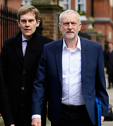 © London News Pictures. FILE PICTURE: 23/04/2016. London, UK. Labour party leader JEREMY CORBYN and his advisor SEAMUS MILNE (centre) arrive for a meeting with President of the United States Barak Obama at Lindley Hall in London. A BBC Panorama documentary, focusing on alleged anti semitism in the Labour Party is due to run this evening.. Photo credit: Ben Cawthra