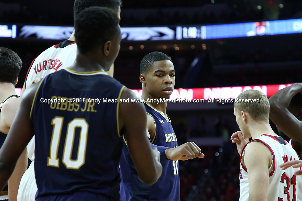RALEIGH, NC - FEBRUARY 03: Notre Dame's Elijah Burns (12) and Temple TJ Gibbs (10). The North Carolina State Wolfpack hosted the University of Notre Dame Fighting Irish on February 3, 2018 at PNC Arena in Raleigh, NC in a Division I men's college basketball game. NC State won the game 76-58.