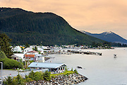 USA, Alaska, A view of the town and island of Wrangell taken from the deck of a Alaska Marine Highway System Ferry.
