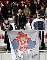 15.11.2009 Novi Sad(Serbia)<br /> Serbia-Norway football Under 21<br /> Norge - Serbia U21<br /> <br /> Uefa Euro qualify<br /> Serbian fans with flag of Serbian south province  Kosovo