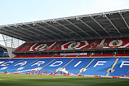 the Wales players warm up during the Wales football team training at the Cardiff City Stadium in Cardiff, South Wales on Wed 23rd March 2016. The team are preparing for their forthcoming friendly against Northern Ireland.<br /> pic by  Andrew Orchard, Andrew Orchard sports photography.