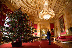 Windsor, UK. 30th November, 2018. The State Apartments at Windsor Castle have been decorated with glittering Christmas trees and twinkling lights for Christmas. Seen here a 15ft Christmas tree in the Crimson Drawing Room (a Semi-State Apartment open to castle visitors during the winter months).