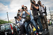 Press photographers at work in Whitehall during the London Taxi strike over the Uber mobile App. Thousands of London's Black Cabs  brought parts of central London to a standstill. Whitehall, Central London, 11th June 2014
