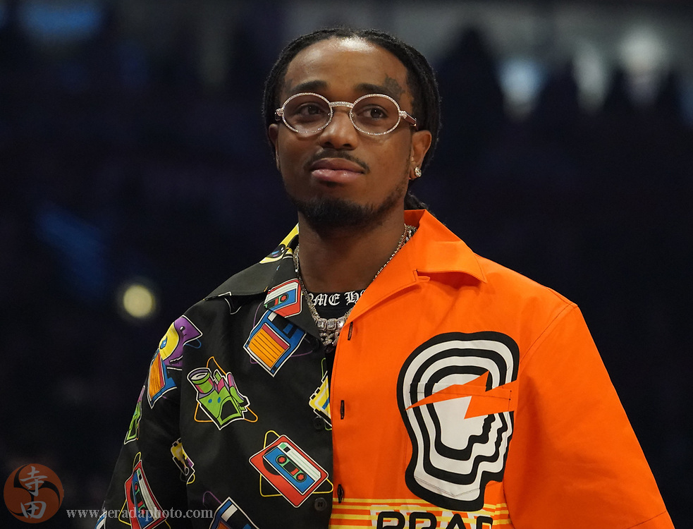 Feb 16, 2020; Chicago, Illinois, USA; Recording artist Quavo in attendance in the first quarter during the 2020 NBA All Star Game at United Center.