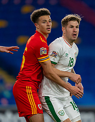 CARDIFF, WALES - Sunday, November 15, 2020: Wales' Ethan Ampadu (L) and Republic of Ireland's James Collins during the UEFA Nations League Group Stage League B Group 4 match between Wales and Republic of Ireland at the Cardiff City Stadium. Wales won 1-0. (Pic by David Rawcliffe/Propaganda)