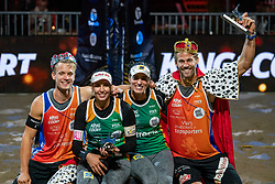 "Florian Breer SUI, Eduarda Santos Lisboa ""Duda"" BRA, Agatha Bednarczuk BRA, Marco Krattiger SUI during the ceremony on the last day of the beach volleyball event King of the Court at Jaarbeursplein on September 12, 2020 in Utrecht."