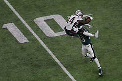 February 4, 2018 - Minneapolis, CA - Newn England Patriots wide receiver Brandin Cooks (14) attempts to hurdle Philadelphia Eagles free safety Rodney McLeod (23) during the Super Bowl Eagles wins 41-33 over Patriots at U.S. Bank Stadium on Sunday, Feb. 4, 2018 in Minneapolis, CA (Credit Image: © Paul Kuroda via ZUMA Wire)