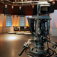 USA, Massachusetts, Boston. On the set of Greater Boston at WGBH studios.