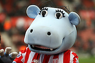 Stoke City mascot Pottermus looks on. Barclays Premier league match, Stoke city v Manchester city at the Britannia Stadium in Stoke on Trent, Staffs on Saturday 5th December 2015.<br /> pic by Chris Stading, Andrew Orchard sports photography.
