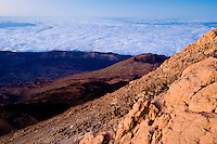 """The crater of """"Pico Viejo"""" or """"Chaorra Mountain"""" (2.909 mh) from the summit of the Teide. Teide National Park, Tenerife Island, Canary Islands, Spain."""