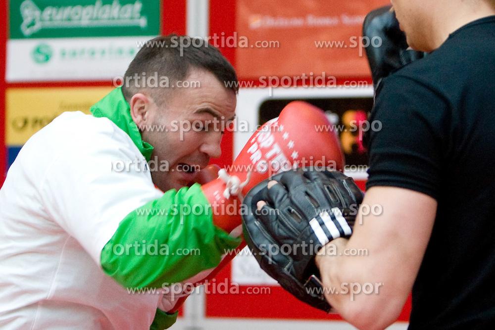 Slovenian Boxer Dejan Zavec alias Jan Zaveck alias Mr. Simpatikus at open for public and press practice session before defending title of IBF World Champion, on April 6, 2010, in BTC City park, Ljubljana, Slovenia.  (Photo by Vid Ponikvar / Sportida)