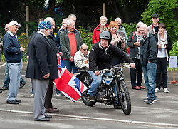 """© Licensed to London News Pictures. 24/05/2015. Warmley, South Gloucestershire UK.  Annual rally of vintage Douglas Motorcycles at Kingswood Heritage Museum.  The world famous Douglas bikes were built in Kingswood from 1907 to 1957. Some 25000 were constructed for military use in the First World War. The bikes were regular winners of the Isle of Man TT races. Bill Douglas, great grandson of the founders of the firm, said: """"It is always a stirring sight to see the bikes in action, and we expect a big turnout around the area to watch the cavalcade"""". Photo credit : Simon Chapman/LNP"""