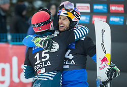 Dufour Sylvian and Fischnaller Ronald during the men's Snowboard giant slalom of the FIS Snowboard World Cup 2017/18 in Rogla, Slovenia, on January 21, 2018. Photo by Urban Meglic / Sportida