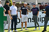 England cricketers Ben Stokes, Joe Butler and Joe Root, during the BMW PGA Championship at Wentworth Club, Virginia Water, United Kingdom on 18 September 2019.