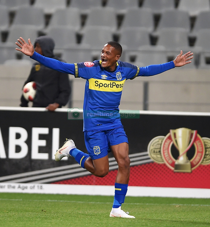 Cape Town-180804 Cape Town City midfielder Craig Martin celebrates his goal against Supersport in the first game of the 2018/2019 season at Cape Town Stadium.Cape Town City won their first home game of the season 2-0 ,with the first goal scored by roland Putsche.photograph:Phando Jikelo/African News Agency/ANAr