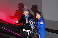 July 25, 2008 - Garden City, New York, U.S. - ANDREW PARTON (left) and STS-124 NASA astronaut RONALD J. GARAN (right) at the Cradle of Aviation Museum in Garden City, New York this evening. Presentation that included slides of the mission as well as his NEEMO 9 experience, along with a video that contained cabin conversation recorded during the STS-124 launch on May 31.