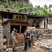 NEPAL. Everest Region, Phakding. May 20th, 2012. Army check post.