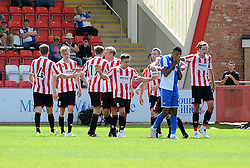 Cheltenham Town celebrate their second goal - Mandatory by-line: Neil Brookman/JMP - 25/07/2015 - SPORT - FOOTBALL - Cheltenham Town,England - Whaddon Road - Cheltenham Town v Bristol Rovers - Pre-Season Friendly