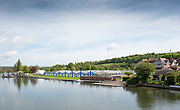 Henley on Thames. United Kingdom.   2018 Henley Royal Regatta, Henley Reach. <br />   <br /> Boot Tent under construction. Leander Club on the Right. Course Construction<br /> <br /> Thursday  03/05/2018<br /> <br /> [Mandatory Credit: Peter SPURRIER:Intersport Images]<br /> <br /> LEICA CAMERA AG  LEICA Q (Typ 116)  f5.6  1/640sec  35mm  42.6MB