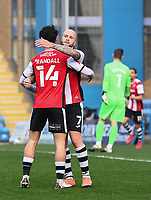 Football - 2020 / 2021 Emirates FA Cup - Round 2 - Gillingham vs Exeter City - Priestfield Stadium<br /> <br /> Exeter City's Nicholas Law celebrates scoring the opening goal with Joel Randall.<br /> <br /> COLORSPORT/ASHLEY WESTERN