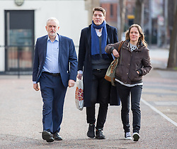 © Licensed to London News Pictures. 26/03/2017. London, UK. Leader of the Labour Party JEREMY CORBYN (left) with the Head of Strategic Communications for the Labour Party leader JAMES SCHNEIDER (centre) and guest (right) arrive at the ITV Studios to appear on 'Peston on Sunday' programme. Photo credit : Tom Nicholson/LNP
