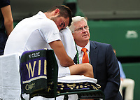 Tennis - 2017 Wimbledon Championships - Week Two, Sunday [Day Thirteen]<br /> <br /> Men Doubles Final match<br /> <br /> Marin Cilic (CRO) vs Rodger Federer (SUI)<br /> <br /> Marin Cilic with for the Doctor on Centre court <br /> <br /> COLORSPORT/ANDREW COWIE