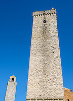 SAN GIMIGNANO, ITALY - CIRCA MAY 2015:  Towers in the medieval walled city of San Gimignano in Tuscany