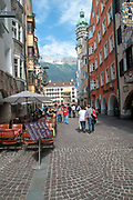 Urban pedestrian street scene in Innsbruck, Austria,