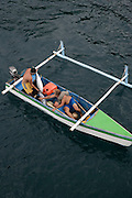 Fishing boat with tuna, Hanavave, Island of Fatu Hiva, Marquesas Islands, French Polynesia, (Editorial use only)<br />