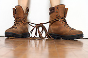 boots of which the laces are tied together