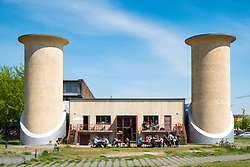 Historic sound-proof engine test centre now cafe at the Science and Technology Park in Adlershof Berlin, Germany